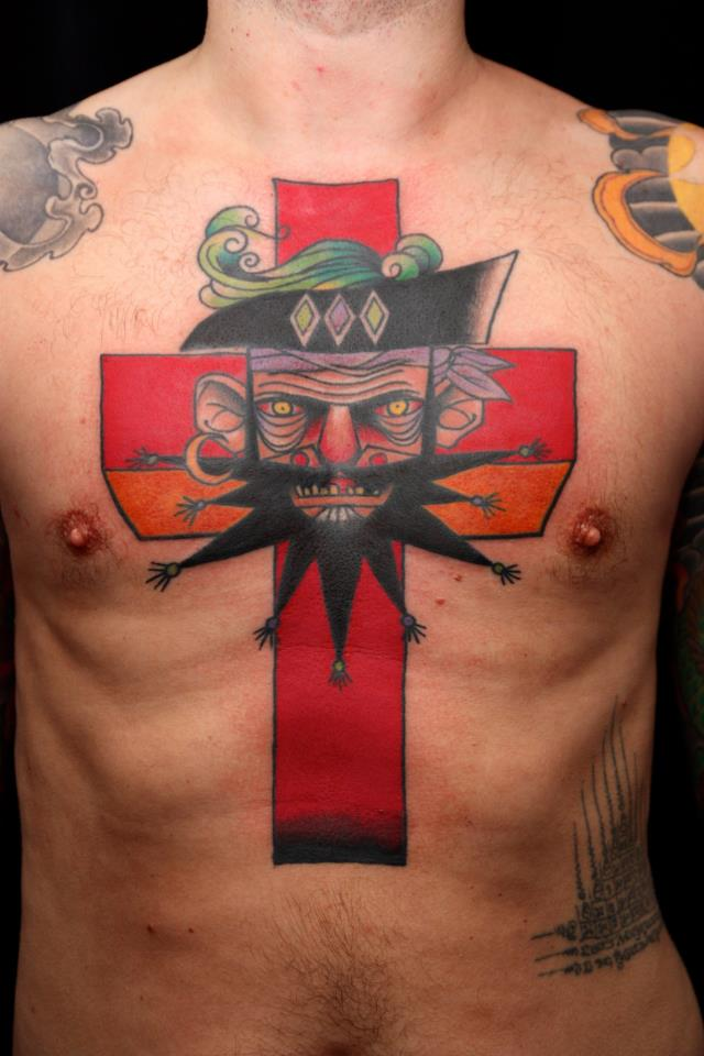 Pirate Cross Tattoo On Chest For Men