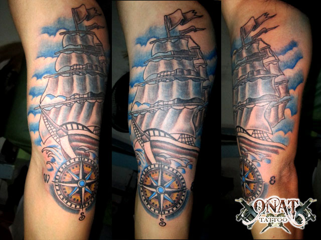 Pirate Ship Compass Tattoo Design