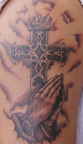 Praying Hands Cross Tattoo On Biceps