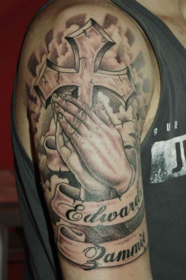 Praying Hands n Cross Tattoo For Guys