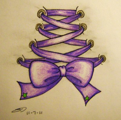 Purple Corset Tattoo Design