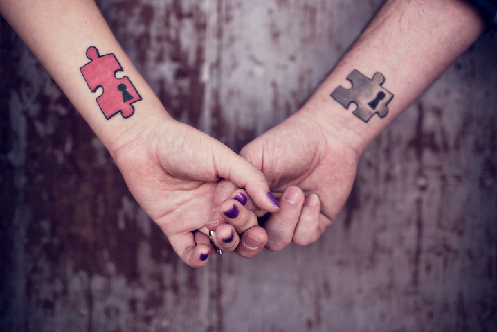 Puzzle Couple Tattoo Designs For Lovers
