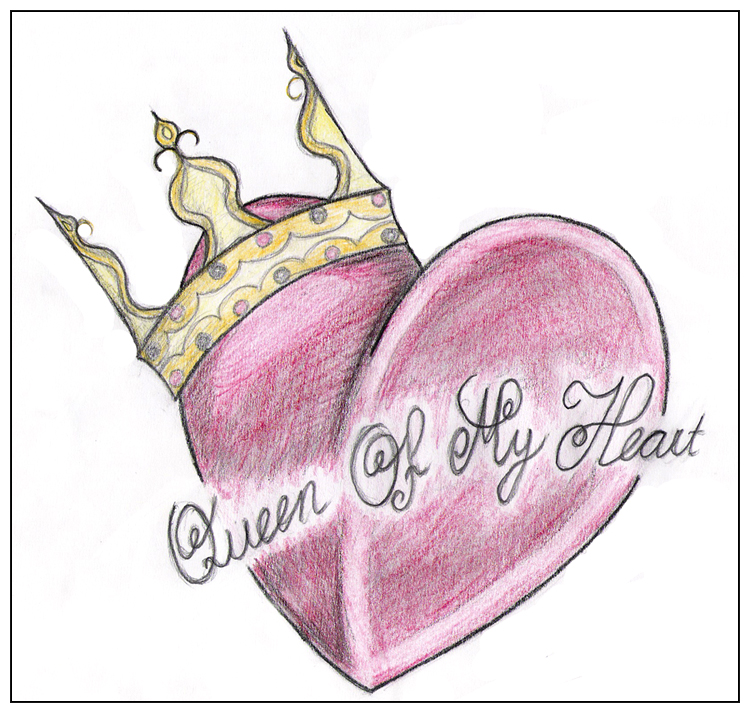 Queen Of My Heart Crown Tattoo Sketch
