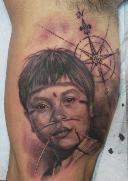 Realistic Children & Compass Tattoo On Muscles