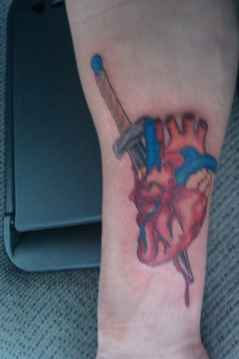 Realistic Heart Dagger Tattoo On Skin