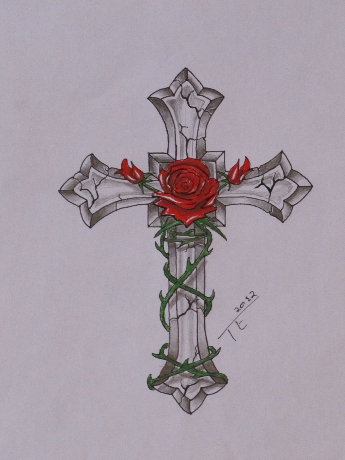 Red Rose n Cross Tattoo Design