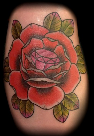 Red Rose n Diamond Tattoo Design