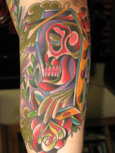 Red Skull Coffin Tattoo Design
