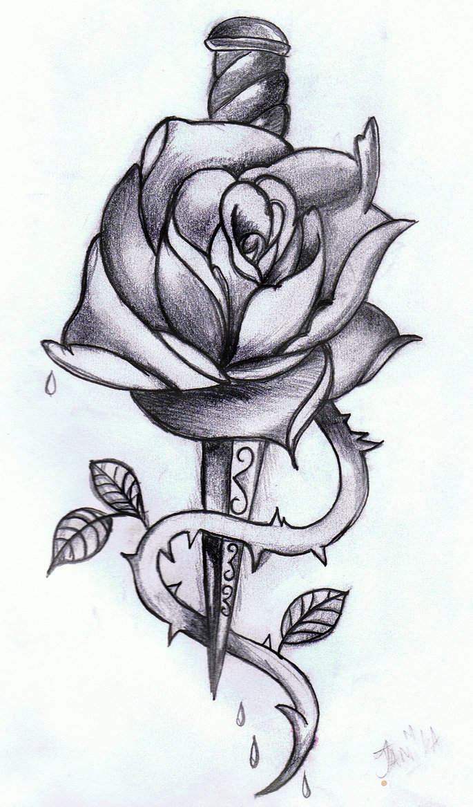 Rose Dagger Tattoo Drawing