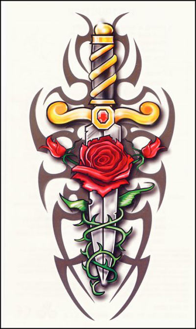 Rose Dagger Tattoo Picture