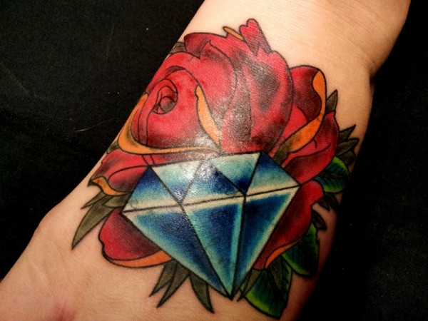 Gallery For gt Rose Diamond Tattoo Design