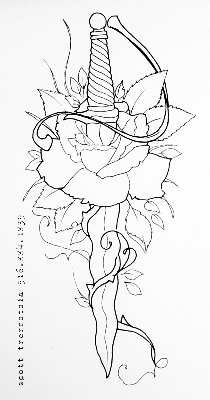 Dagger And Rose Drawing Tattoos Designs Ideas Page 24