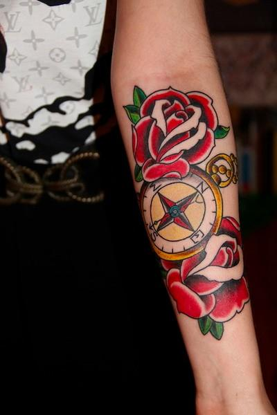 Roses & Compass Tattoo On Forearm