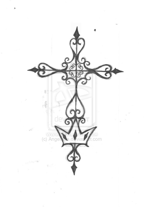 Royal Cross Tattoo Design
