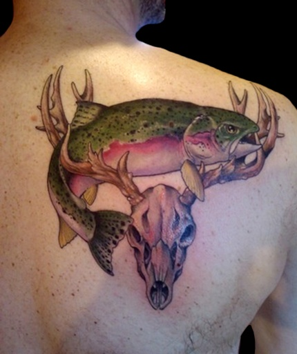 Salmon n Deer Skull With Antlers Hunters Tattoo On Back