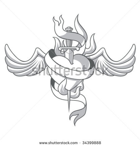 Scared Heart With Dagger n Wings Tattoo Sample