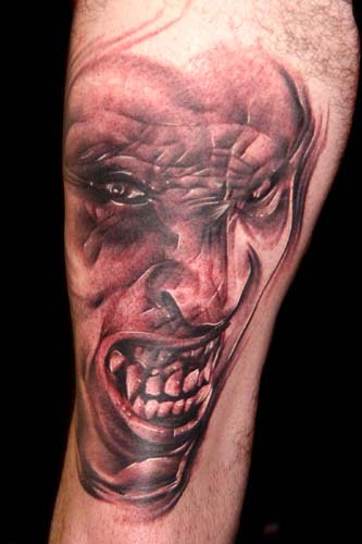 Scary Demon Face Tattoo Design