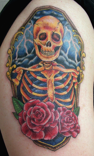 Skeleton Coffin Tattoo On Shoulder
