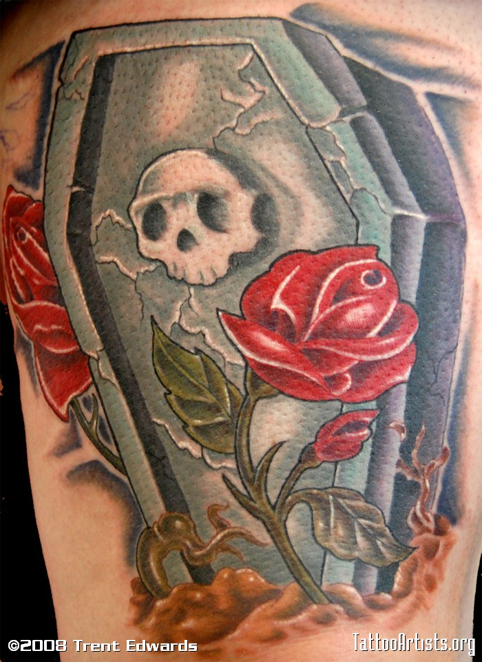 Skull Coffin With Red Roses Tattoo Design