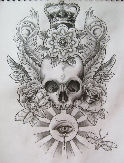 Skull Crown n Flowers Tattoo Sketch