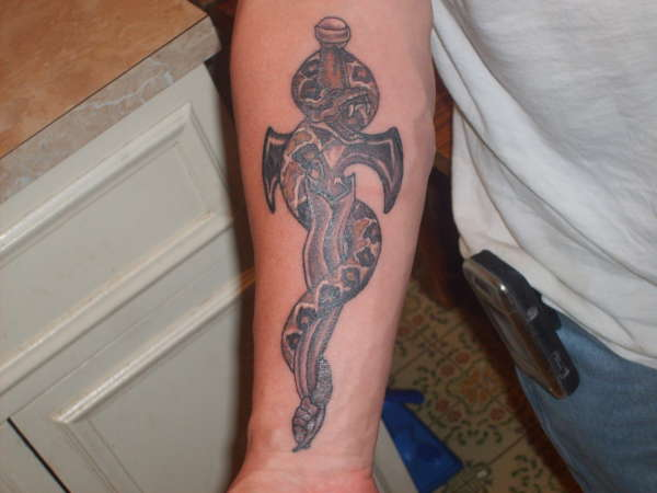 Snake n Dagger Tattoo On Forearm