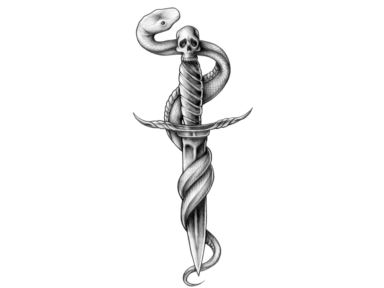 Snake Wrapped On Dagger Tattoo Design