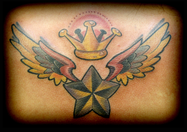 Star With Wings n Crown Tattoo Design