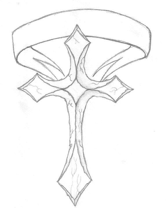 Stone Cross & Banner Tattoo Design