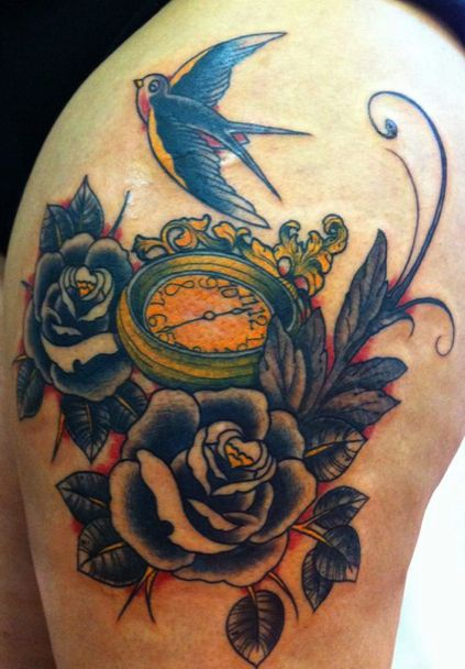 Swallow Compass & Roses Tattoo Design