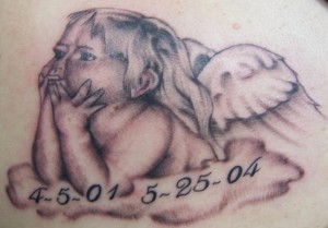 Thinking Cherub Tattoo Design