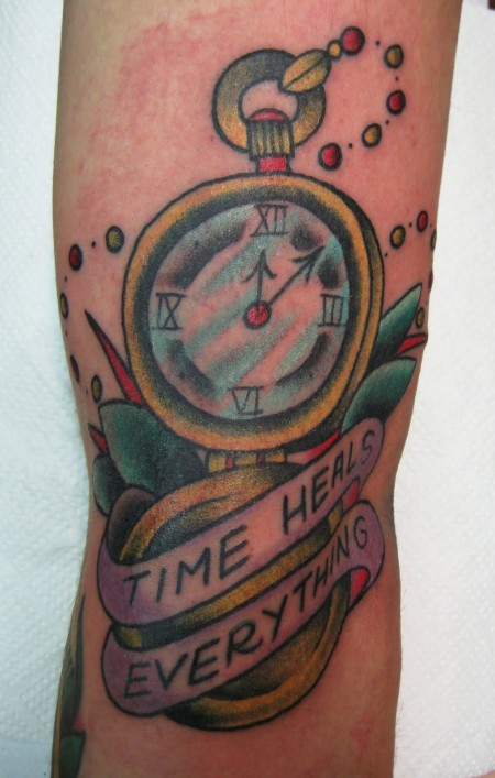 Time Heals Everything Compass Tattoo Design