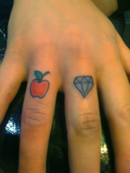 Tiny Apple n Diamond Tattoo On Fingers