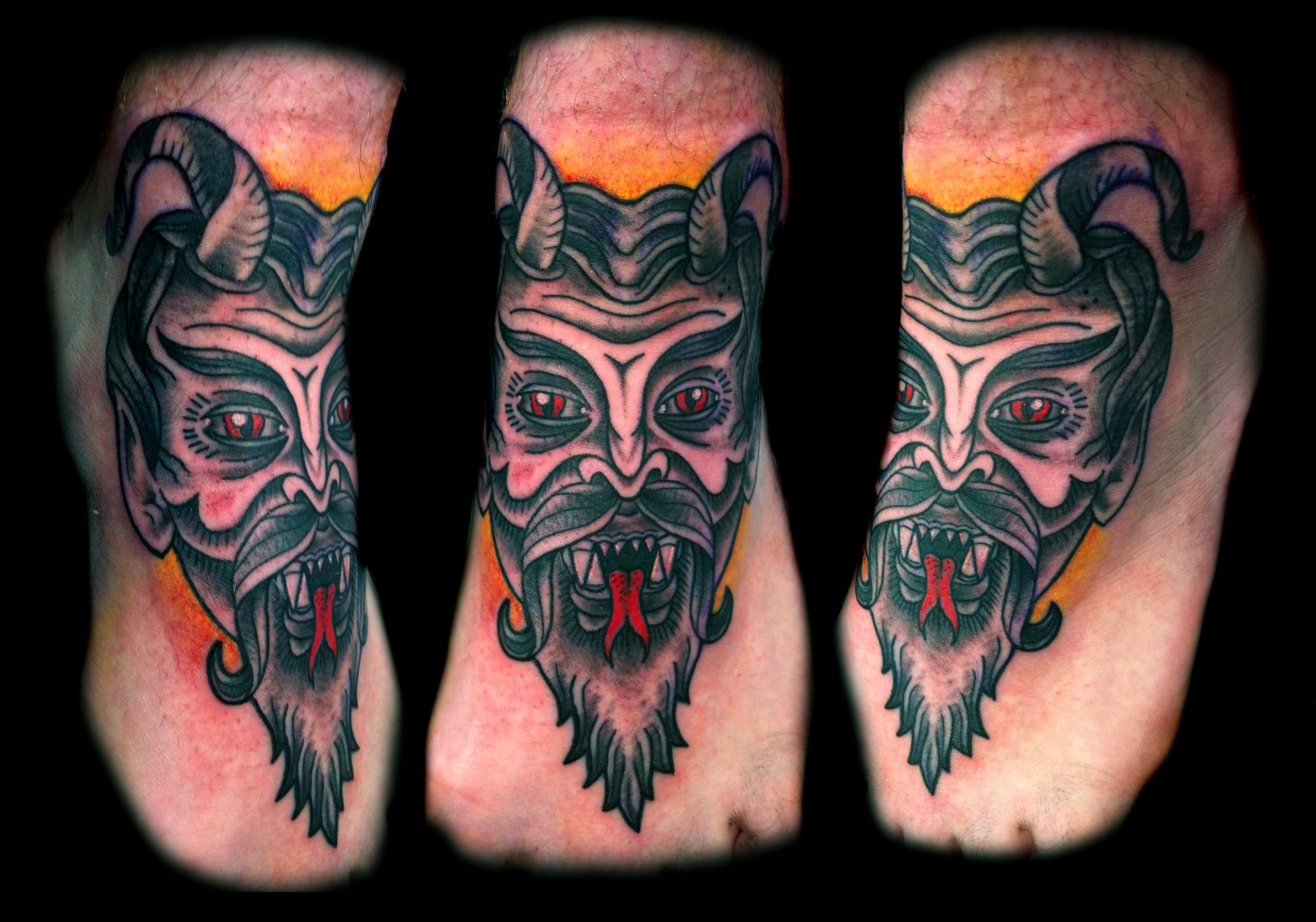 Traditional Devil Face Mask Foot Tattoo Design