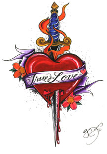 True Love Banner Heart With Dagger Tattoo Design