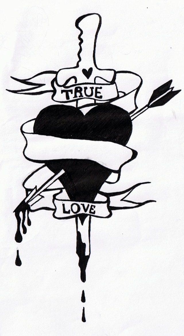 True Love Dagger Tattoo Design