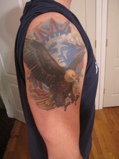 US Country Symbol Tattoo On Shoulder