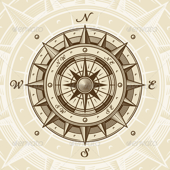 Vintage Compass Tattoo Design