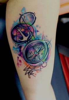 Watercolor Anchor & Compass Tattoo
