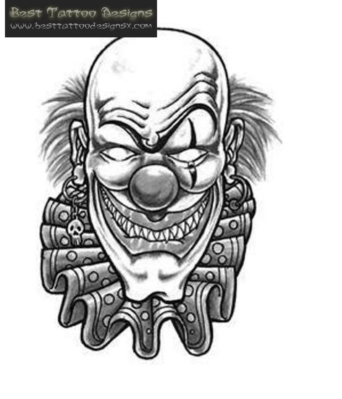 Wicked clown tattoos pictures