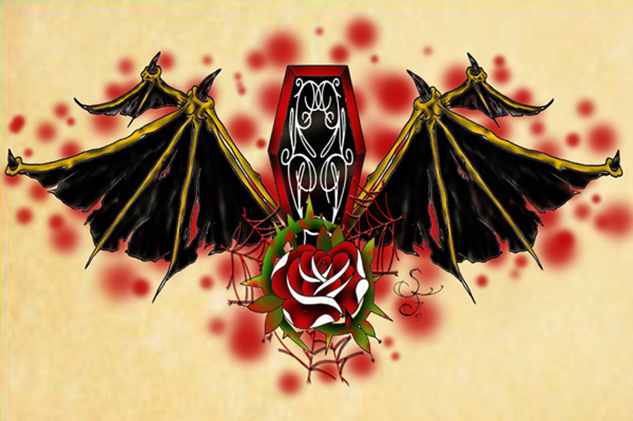 Winged Coffin With Red Rose Tattoo Design
