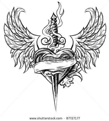 Winged Heart n Dagger Tattoo Design