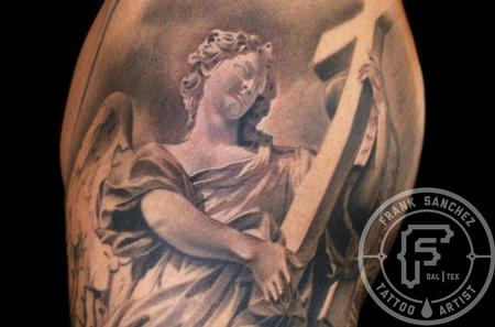 Woman Angel Holding Cross Tattoo Design