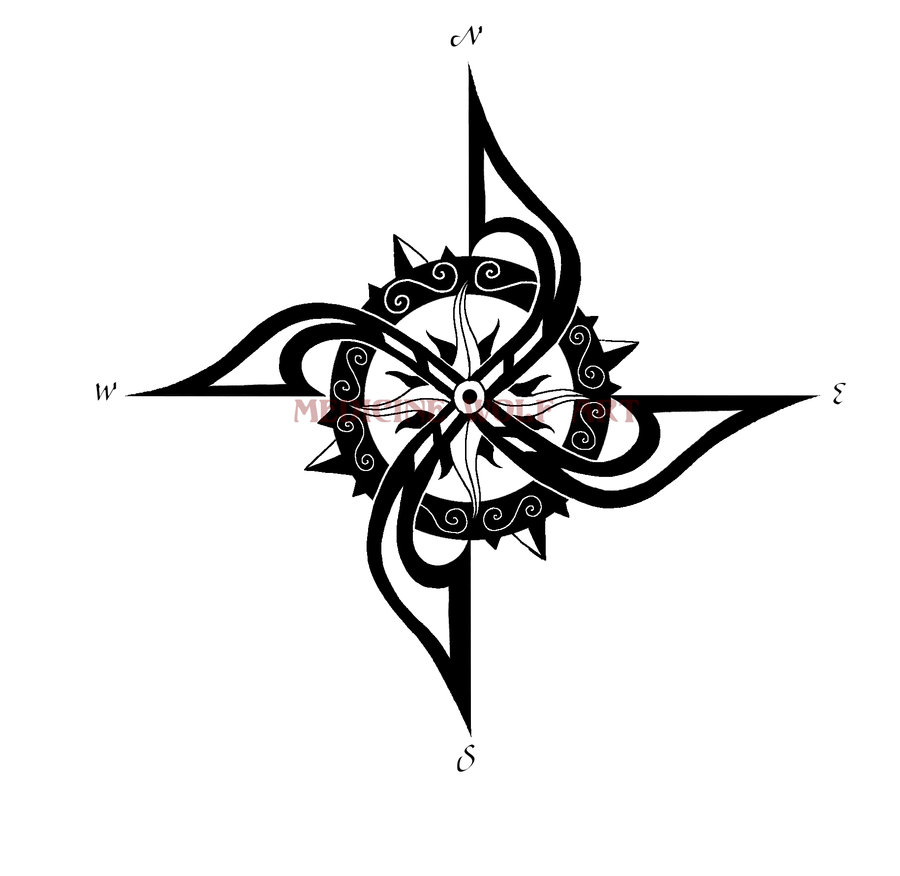 Wonderful Compass Tattoo Design