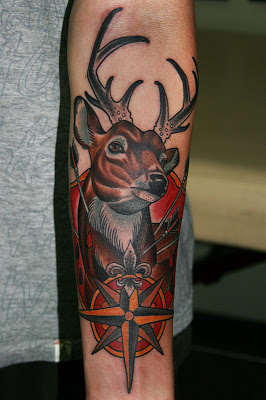 Wonderful Deer n Compass Tattoo Design
