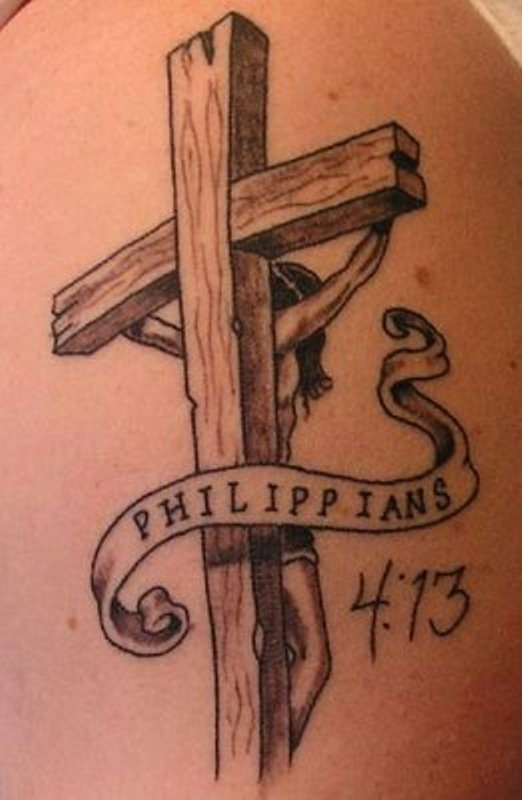 Wooden Cross Tattoo Design