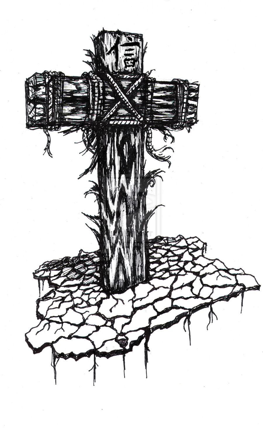 Wooden Cross Tattoo Sample