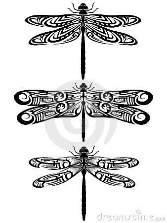 3 Tribal Dragonflies Tattoo Designs