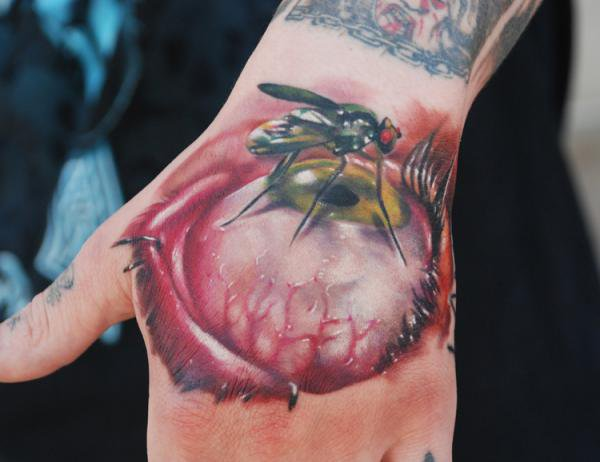 3D Fly On Eye Tattoo On Hand