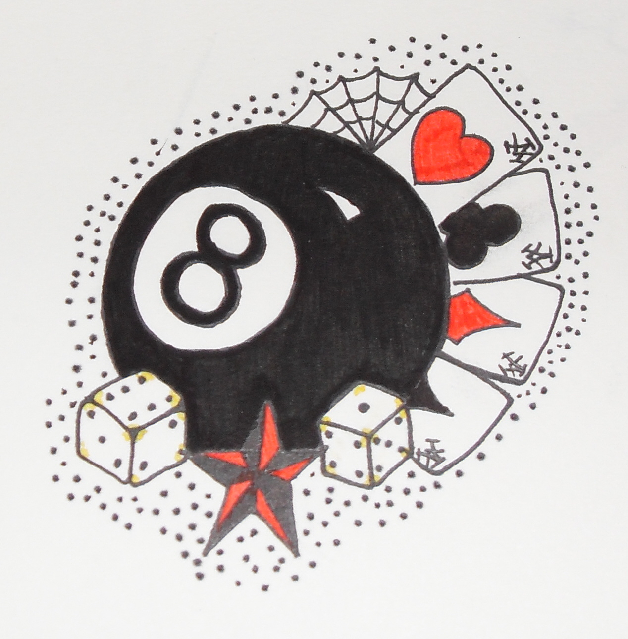 8 Ball Dice n Cards Tattoo Design