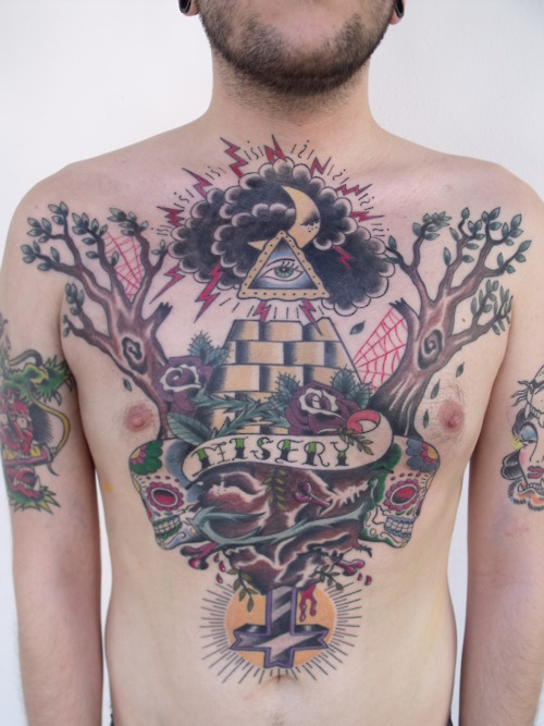 All Seeing Eye Pyramid Tattoo On Chest